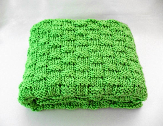 Green Baby Blanket Knit Basketweave Baby Blanket Handmade Baby Gift Idea Gender Neutral Baby Boy or Girl