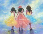 Three Sisters Art Print three girls fashion pastel spring fashion dresses. sisterhood, teens, wall art, best friends, Vickie Wade Art