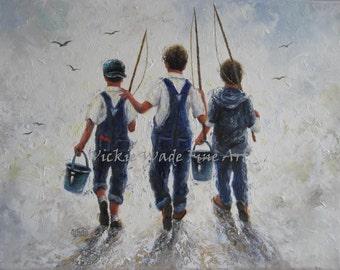 RESERVED Three Boys Fishing Art Print, three brothers paintings, going fishing, bib overhauls, navy blue boys room wall art, Vickie Wade