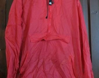 80s M & Ms studios red nylon hooded windbreaker jacket sz large