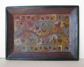 Vintage Olinala Laquer Tray Fantasia Multicolor Birds Animals Mexican Folk Art Large size