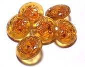 Honey Amber Transparent Glass Vintage Buttons Beautiful Set 6 Buttons 19mm