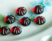 N1477 Vintage Glass Cabochons 6mm 5mm art Ribbed Ruby Red Pressed Cabs NOS