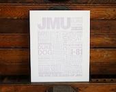 JMU Letterpress Print (Distressed Purple Ink on White Paper)