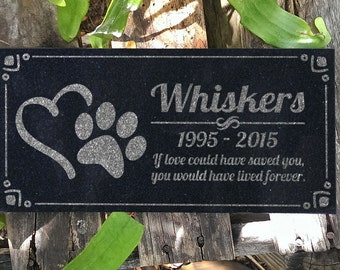 Pet Memorial Stone Personalized Heart Paw Headstone Garden Plaque Custom Engraved Cat Memorial Dog Grave Markers in Granite Memorial Stone