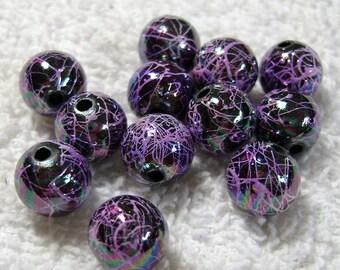 Dark Orchid Acrylic Stippled Beads AB Finish - (10mm) - (12 Pcs) - B-1464
