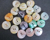 20 Chunky Nuggets Mother of Pearl Buttons Blue Green Yellow Orange Pink