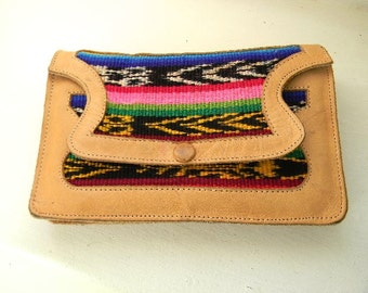 vintage. Embroidered Guatemalan Leather Clutch Bag // Shoulder Bag //