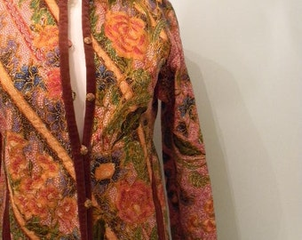 70s Indonesian Batik Jacket / Cotton Rare Blazer  // M