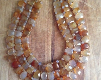 vintage. Three Strand Citrine Beaded Necklace // Kenneth Lane