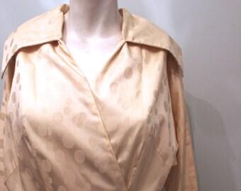 vintage. 50s Cream Polka Dot Shirt Dress // Rare Dress // S