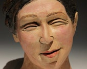 Bliss Face, Bust Of A Woman, Ceramic Portrait Sculpture Head, 3D Art