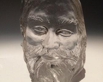 Cast Glass Face Sculpture Prisms, Optical Art Rainbow Maker Musician Portrait Crystal Suncatcher, Bearded Man