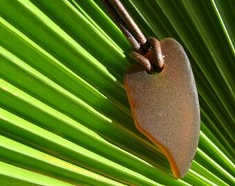 Dark Brown Curl Beach Glass Necklace