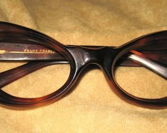 Vintage 50s Ropco Cats Eye Tortoise Shell Eyeglass Frames - Girls - Size Small