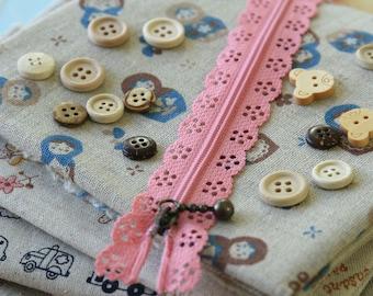 ROSE Pink Lace Zipper deco zip