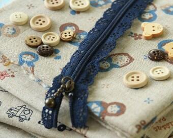 NAVY Blue Lace Zipper deco zip