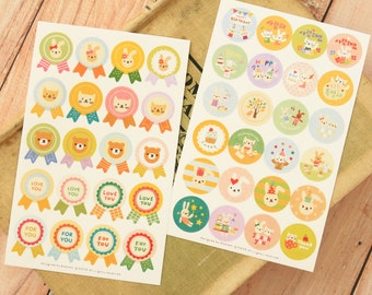 Toto Sticker round animal paper stickers