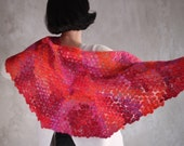 Cobweb felted shawl merino wool wrap and turquoise silk women scarf unique kerchief orange pink red baktus Christmas gift - ready to ship