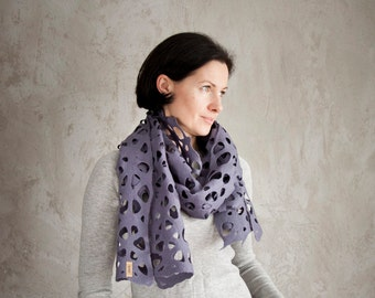 Grey felted scarf, women merino wool purple shawl, storm lace neck warmer, woolen cowl, summer birthday gift