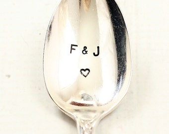 Custom hand stamped double initial teaspoon with heart, personalized couples gifts