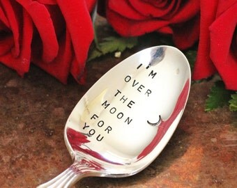 Stamped Spoon I'm Over the Moon For You, Romantic Morning Message Stamped Silverware Coffee Spoon