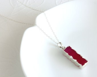 Fuchsia Bar Necklace - Layered Necklace - Fuchsia Bar Necklace - Everyday Jewelry - Long Necklace - Casual Necklace - Minimal Necklace