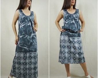 Tie Dyed Sleeveless Scoop Neck Charcoal Printed Cotton Jersey Maxi Dress Women Pullover Sun Dress