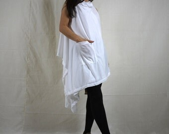 Wear Both Front & Back Side - Asymmetrical Hem White Cotton Mix Polyester Tunic Wrap Cardigan