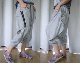 Funky Harem Boho Capric Drop Crotch Light Heather Grey Cotton Jersey Pants With Zipped Flap Side And Elastic Waist