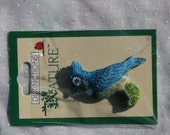 Single Blue Jay Flat Back Bird Resin Craft Piece, New Supplies for Crafting