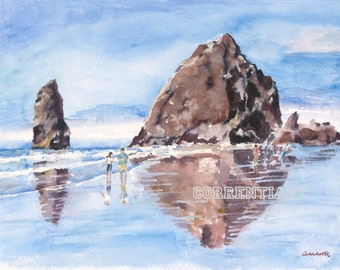 Haystack Rock - Cannon Beach, Oregon - Giclee Print from Original Watercolor Painting 12x16