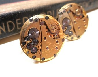 Steampunk Vintage Russian Soviet Union GOLD Watch Movement Cuff Links - 17 Jewel Ruby - PREMIUM - Rubies - Soldered Matching - Identical