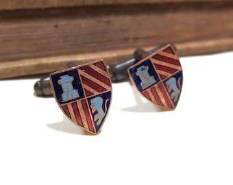 SALE Vintage Copper and Enamel Crest Shield Cufflinks - Lion Tower - Game of Thrones Lannister Antiqued Brass Soldered - Enameled CLEARANCE