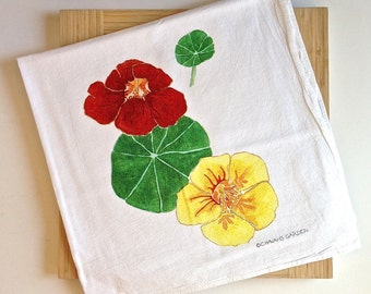 Deluxe Watercolor Nasturtium Tea Towel, Flower Dish Towel, functional art