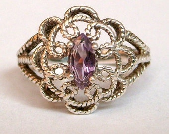 Vintage Sterling Silver Amethyst Filigree Ring Size 8.5