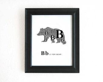 Digital Alphabet Art Print, B is for Bear 8x10 Inch