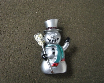 Vintage pewter tone holiday Snowman pin brooch with enamel accents