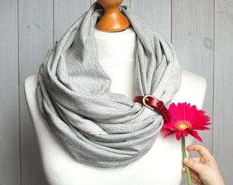 JERSEY Infinity Scarf with leather cuff, FALL fashion infinity scarf, grey snood