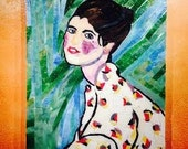 Francoise ~ Mosaic portrait, French woman in a Kimono, priced unframed