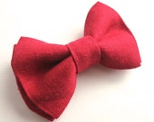 Classic Red Linen Clip On Bow or Velcro Tab Bow Tie  -  Baby Boy Toddler Kids - Ring Bearer Wedding Special Occasion - Christmas Bow Tie