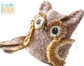 CROCHET PATTERN Hooty the Owl Buddy, 3 in 1 Bag Backpack Belt Pouch Crochet Pattern in PDF