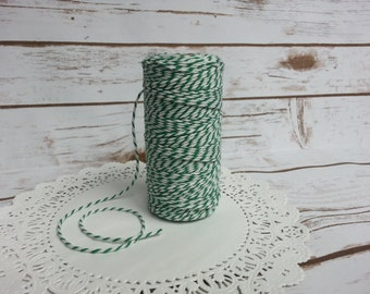 CLEARANCE Thick 12 Ply Bakers Twine GREEN & White Cotton 110 Yard Spool