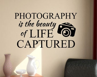 Photography is Beauty, Vinyl Wall Lettering, Vinyl Wall Decals, Vinyl Letters, Vinyl Lettering, Wall Quotes, Photographer Decal, Life Quote
