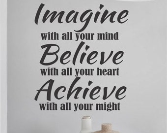 Imagine Believe Achieve, Vinyl Wall Lettering, Vinyl Wall Decals, Vinyl Letters, Vinyl Lettering, Wall Quotes, Sports Decal, Religious Decal