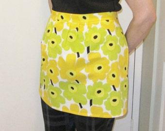 Marimekko half apron, mini Unikko apron, authentic fabric from Finland, FREE SHIPPING Canada and US