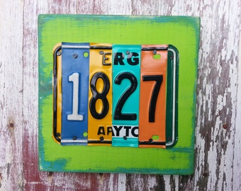 4 letter NAME HOUSE NUMBER address Customized License Plate Word Block Sign Name Custom Funky States Wedding  Anniversary Metal Art Recycled