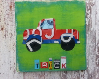 License Plate Art - Navy Red Funky Transportation TRUCK Adventure Boys Nursery Room - Recycled Art Company - Wood - Baby Shower Toddler