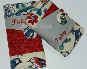 Personalized Red Navy Blue Grey  Japanese LInen Nautical Birds Spill Proof Interchangeable Circular DPN Knitting Needle Case Zipper Pocket