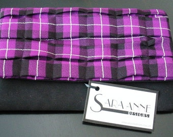 Purple and Black Plaid Clutch